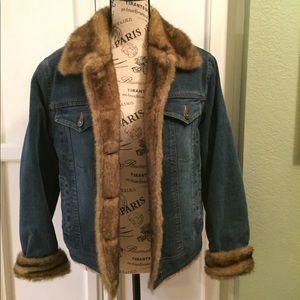 Marvin Richards faux fur jean jacket. S